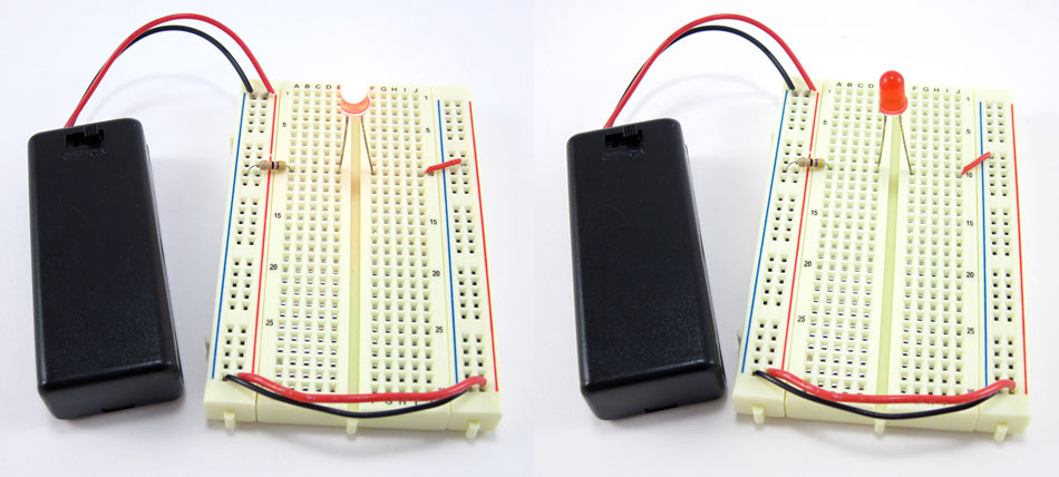 Two photos of a breadboard with a lit LED in the left photo and a jumper wire in the wrong column in the right photo