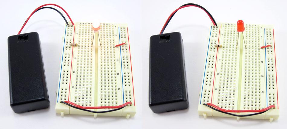 Two photos of a breadboard with a lit LED in the left photo and battery leads reversed in the right photo
