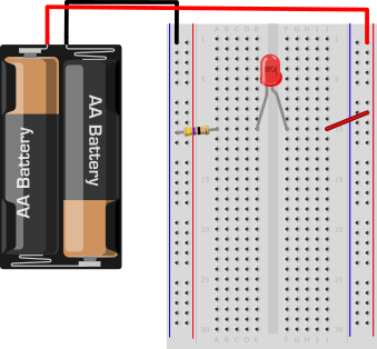 Drawing of a breadboard with a battery pack, resistor and LED