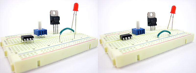 Two photos show electronic components not fully pushed into a breadboard on the left and fully pushed in on the right