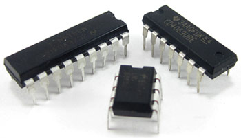 Three integrated circuits of different sizes side-by-side