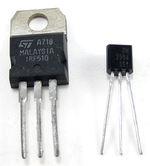 Two different sized transistors side-by-side