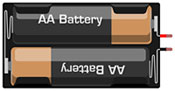 Breadboard diagram symbol for a battery pack that can hold two double A batteries