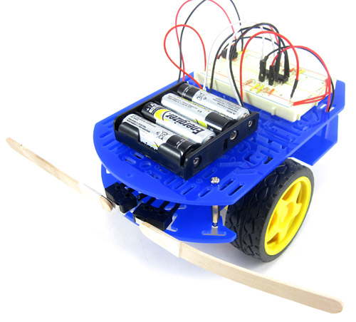 Obstacle avoiding robot with lever switches