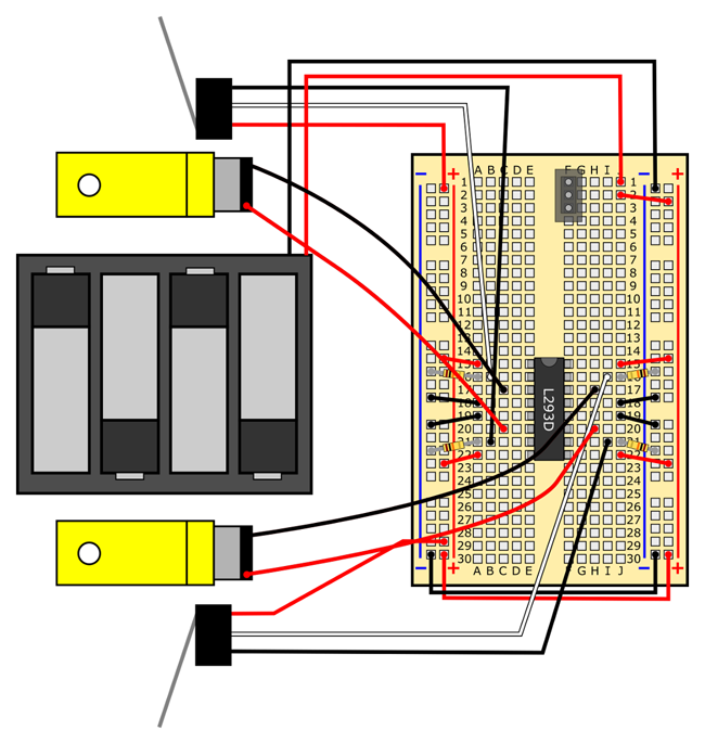 obstacle avoiding robot circuit with motor leads reversed