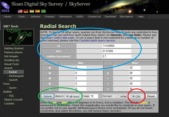Screenshot of how to use the Sloan Digital Sky Survey radial search tool.