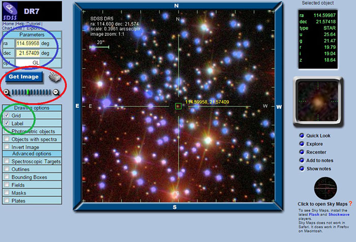 Screenshot showing how to use the Sloan Digital Sky Survey image-finding tool.