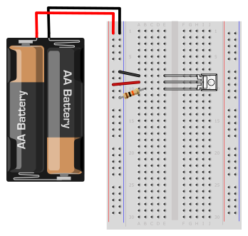 breadboard diagram for light-to-voltage circuit