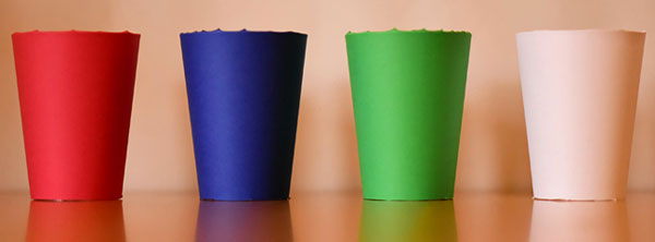 Four different colored cups