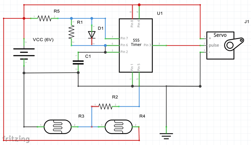 Schematic shows how to wire the servo motors and resistors.
