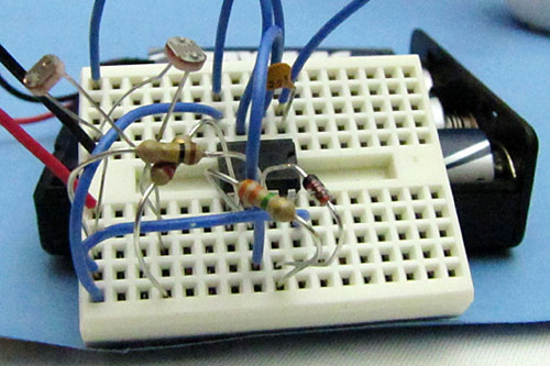 Photograph of completed moving art circuit on a breadboard