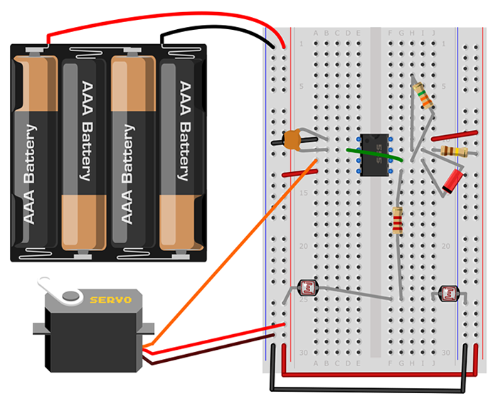 Diagram showing where on the breadboard to place each component