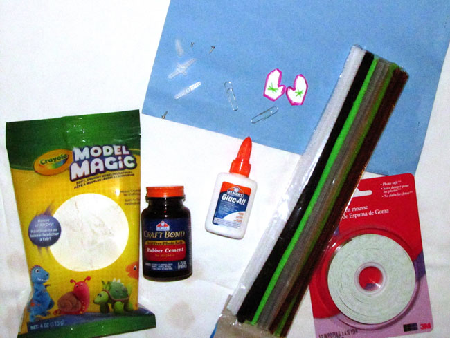craft supplies for creating moving art or waving snowman