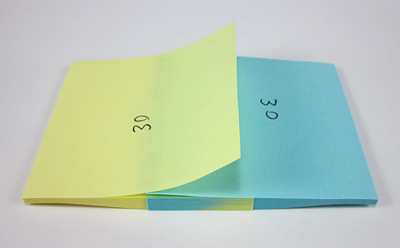 interleaved pads of sticky notes