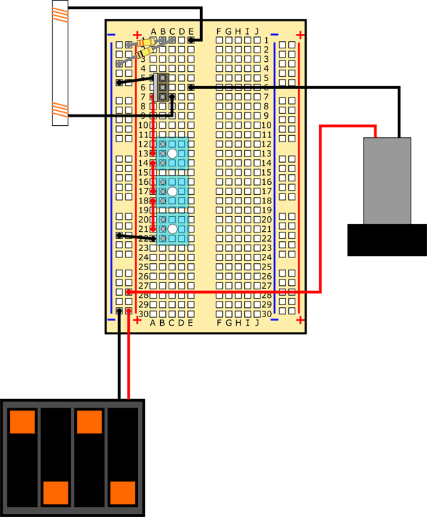 Complete insulin pump model breadboard diagram