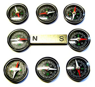 Eight compasses arranged in a square around a bar magnet with the north pole pointing left and south pole pointing right