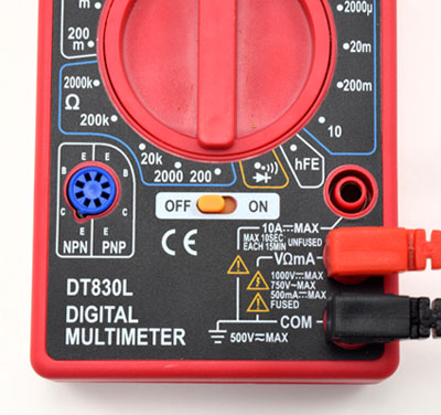 multimeter probes connected