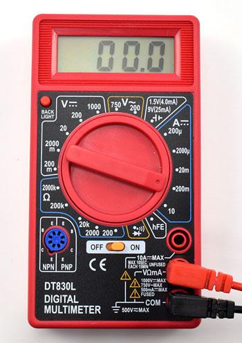 multimeter 200 milliamp DC setting