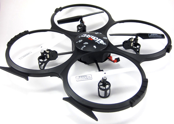 Photo of a toy drone that has four spinning blades