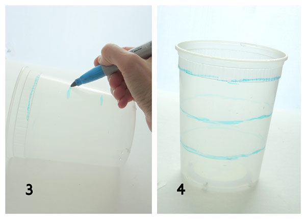 Blue lines are drawn in parallel around the sides of a plastic pot