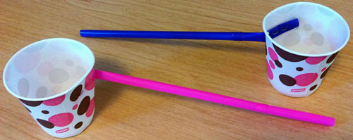 Classroom activity WindMeters  Image 1 Photograph of two cups with straws in them