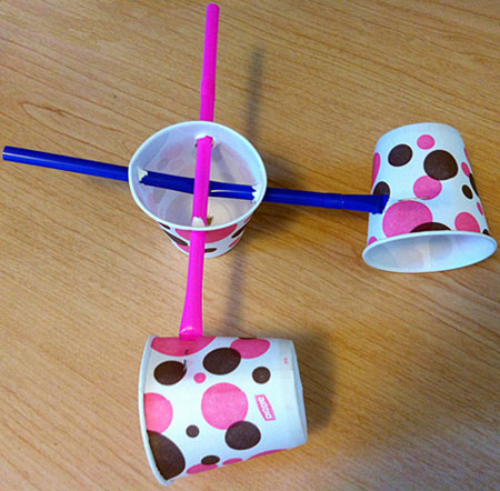 Classroom activity WindMeters  Image 2 Photograph of three cups connected by straws