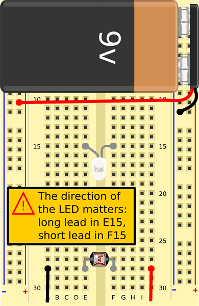 Insert the longer lead of the LED into hole E15 and the shorter lead in hole F15. Bend the LED so it points sideways towards the photoresistor.