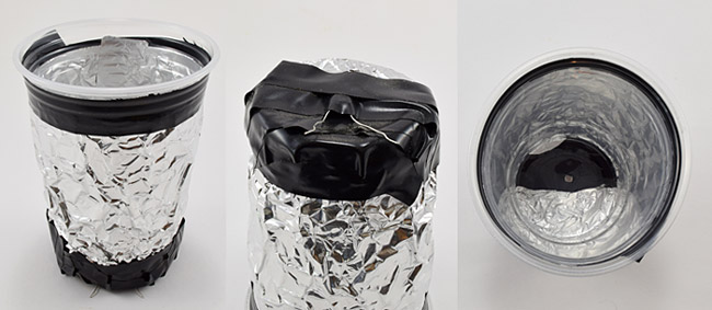 plastic cup wrapped in aluminum foil