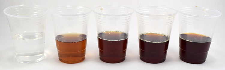 cups of tea with different brewing times
