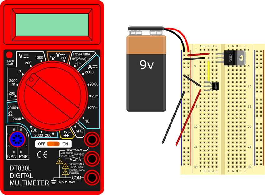 Set multimeter to measure 20 volts DC.