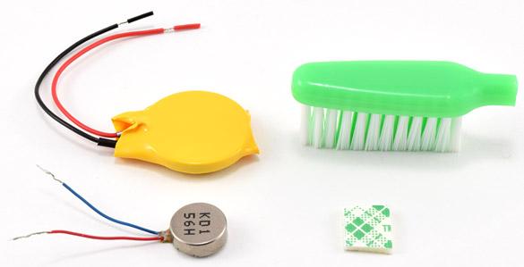 Materials to build a bristlebot
