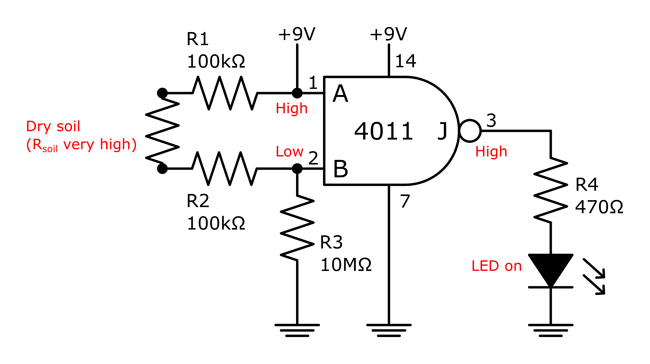 Circuit diagram for a soil moisture sensor with an LED indicator for dry soil