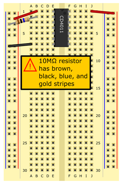10 MΩ resistor (brown, black, blue, gold stripes) from B2 to (-) bus.