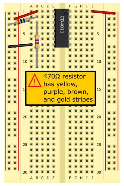 470Ω resistor (yellow, purple, brown, gold stripes) from B3 to B11.