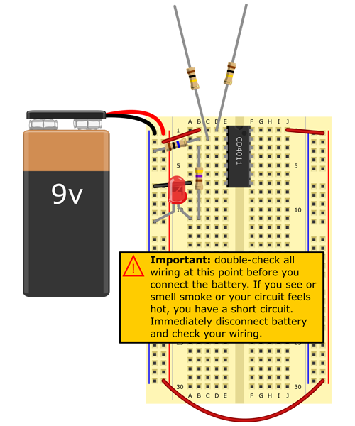 Connect snap connector to battery. Red lead to (+) bus, black lead to (-) bus. LED should turn on. [Soil moisture sensor circuit]