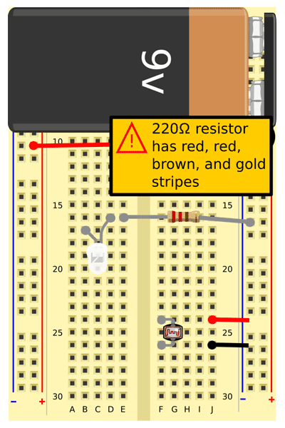 Connect a 220 Ω resistor (red, red, brown, gold) from E16 to the ground (-) bus on the right side.