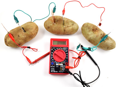3 potato batteries in series