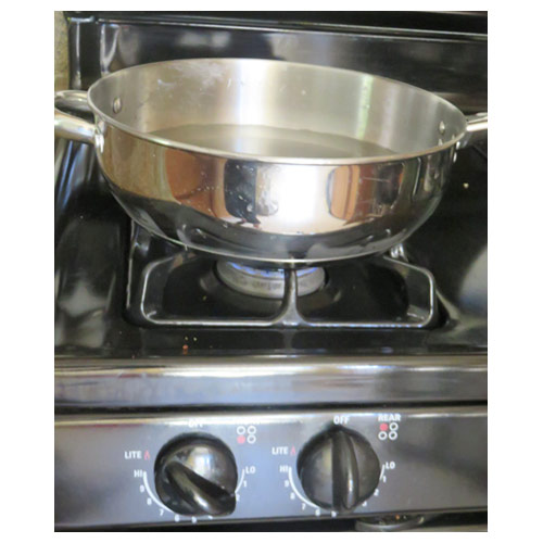 Bring about 1 inch of water to a boil in a saucepan. Lower the heat so the water stays warm.