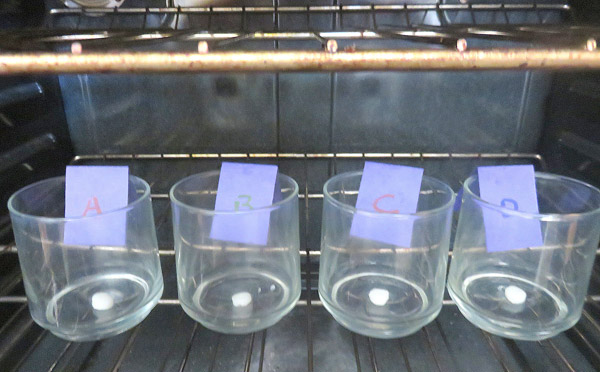 Lip balm samples are placed in a hot environment to study how fast they melt.