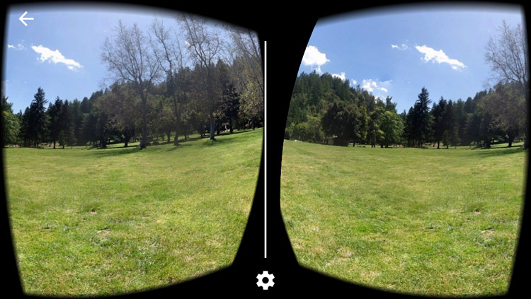 Virtual reality app displaying a photosphere on a smartphone.