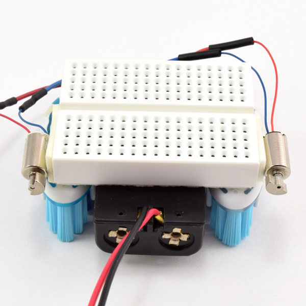 Motors attached to breadboard