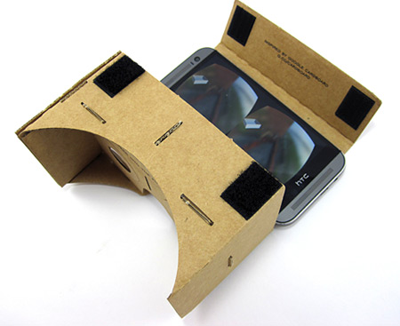 A smartphone placed in the opening of Google's cardboard VR headset