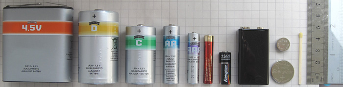 Selection of different common batteries.
