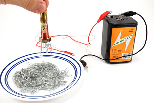 Lift electromagnet away from paper clips.