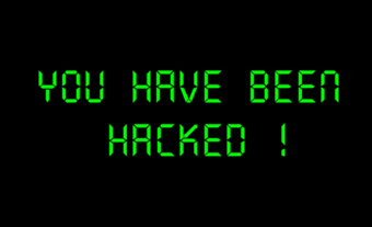 Onscreen warning that computer has been hacked.