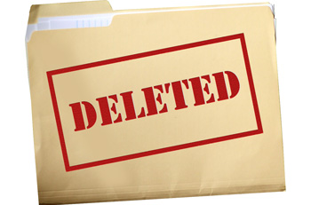 Manila folder stamped with the word deleted