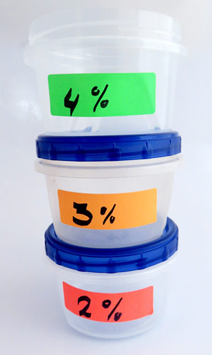 Label containers for 2%, 3%, and 4% hot ice cream solutions