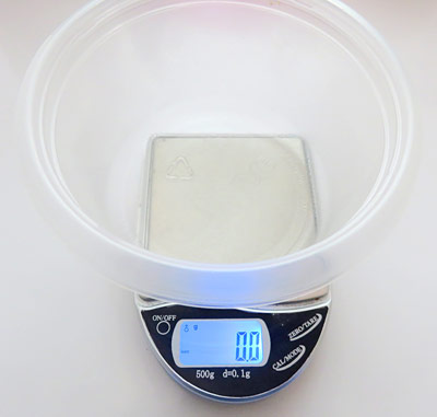 Zero out your scale before measuring the ingredients.