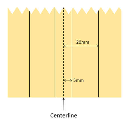 Dimensions for lines on the piece of cardboard