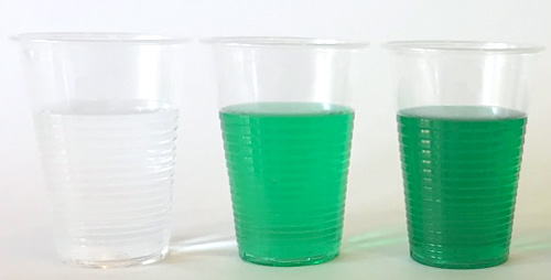 Three clear plastic cups contain solutions of different concentrations of green dye